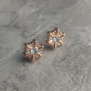 5 for $8 Rose Gold Hexagon Rivet Diamond Earrings